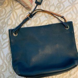 Dooney & Bourke XL hobo leather blue bag euc